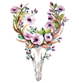 Bright watercolor deer skull with flowers vector image vector image