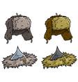 cartoon winter fur hat or cap icon set vector image vector image