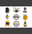 craft brewery set logo design templates vector image vector image