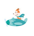 cute fox flying an airplane with scarf fluttering vector image vector image