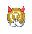 devil tether coin mascot cartoon vector image vector image