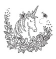 doodle unicorn in flowers vector image vector image