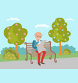 elderly sitting on the park bench vector image