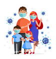family wearing protective medical masks to vector image vector image