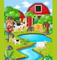 farm scene with farmer and barn vector image vector image