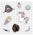 fashion patches set lipsunicornpalm branchice vector image vector image