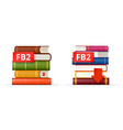 FB2 books stacks icons vector image vector image