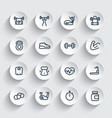 fitness and gym training icons set vector image vector image