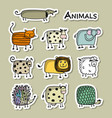 funny animals sticker set for your design vector image