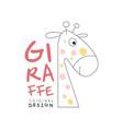 giraffe logo original design cute animal badge vector image vector image