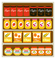 Grocery shelves vector image