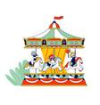 happy children riding merry-go-round carousel in vector image