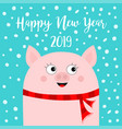 happy new year 2019 pig wearing red scarf vector image vector image