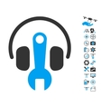 Headphones Tuning Wrench Icon With Copter Tools vector image vector image