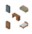 isometric furnishing set of sideboard cabinet vector image vector image