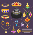 jewelry jewellery gold bracelet necklace vector image