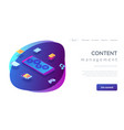 mobile content isometric 3d landing page vector image