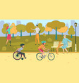 people with disabilities spending time in park vector image vector image