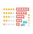 rating stars social assessment scores likes vector image