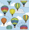 seamless pattern with clouds and balloons vector image vector image