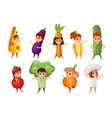 set boys and girls kid wearing vegetables and vector image vector image