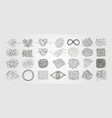 set chaotic scribble line art abstract design vector image vector image