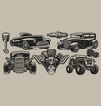 Set classic cars and parts in vintage style