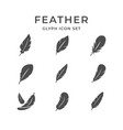 set line icons feather vector image