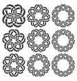 Set of magic knotting rings Nine circular vector image
