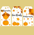 set thanksgiving banners with turkey pumpkins vector image vector image