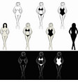 sketch naked woman and woman in swimsuit vector image