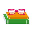 teacher day school book and glasses celebration vector image vector image