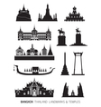 thailand landmarks objects silhouette set vector image