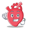 thumbs up heart character cartoon style vector image