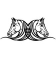 two heads horses tattoo vector image vector image