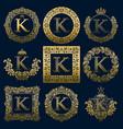vintage monograms set of k letter vector image vector image