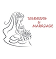 Wedding background with pretty bride vector image vector image