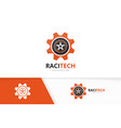 wheel and gear logo combination tire and vector image vector image