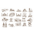 world sights and famous landmarks isolated vector image vector image