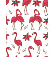 flamingo couple kissing colorful seamless pattern vector image