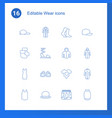 16 wear icons vector image vector image