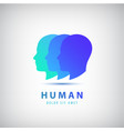 3 human heads faces logo vector image vector image