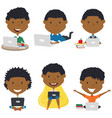 african american boys learn and do homework by vector image vector image