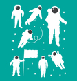 Astronaut in outer space white silhouettes vector image vector image