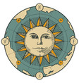 banner with sign moon sun and old map vector image