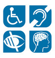 blue disability symbols signs collection vector image