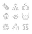 business cooperation linear icons on white vector image