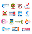 business icons letter e corporate identity vector image vector image