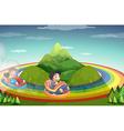 Car ride and rainboww vector image vector image