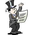 cartoon of a mayor reading a notice vector image vector image